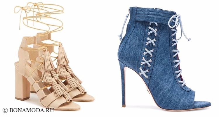 Модные туфли тенденции 2017-2018: бежевые и синие джинсовые на шнуровке