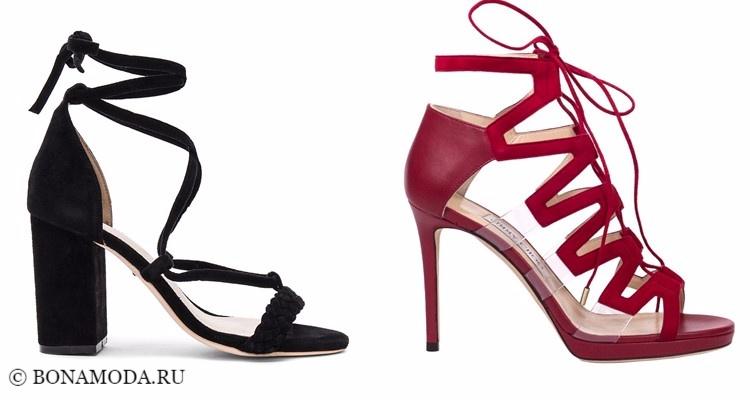 Модные туфли тенденции 2017-2018: чёрные и красные босоножки на высоком каблуке и шнуровке