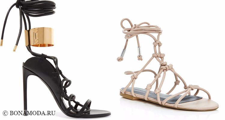 Модные туфли тенденции 2017-2018: римские сандалии на шпильке и плоском ходу