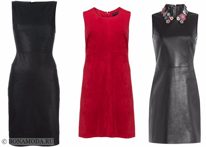 Платья-футляр (карандаш) 2017-2018: черные кожаные и красное замшевое
