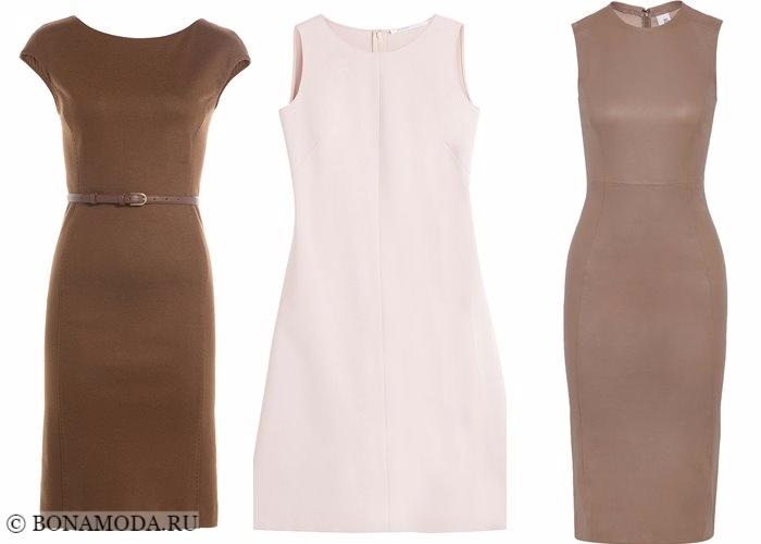 Платья-футляр (карандаш) 2017-2018: кожаные пастельные нейтральные тона