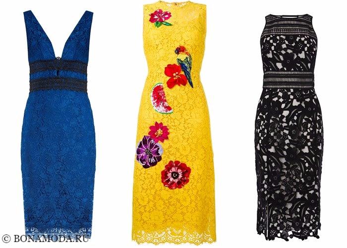 Платья-футляр (карандаш) 2017-2018: синие, желтые и черные кружевные