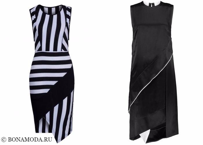Платья-футляр (карандаш) 2017-2018: асимметричная юбка