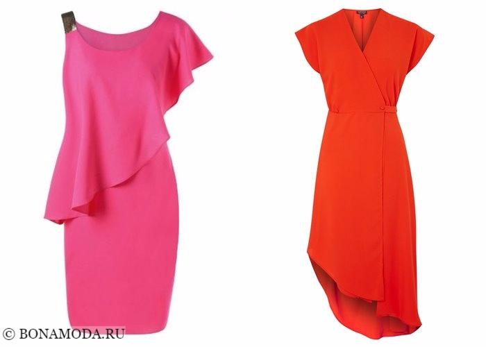 Платья-футляр (карандаш) 2017-2018: розовое и красное асимметричное
