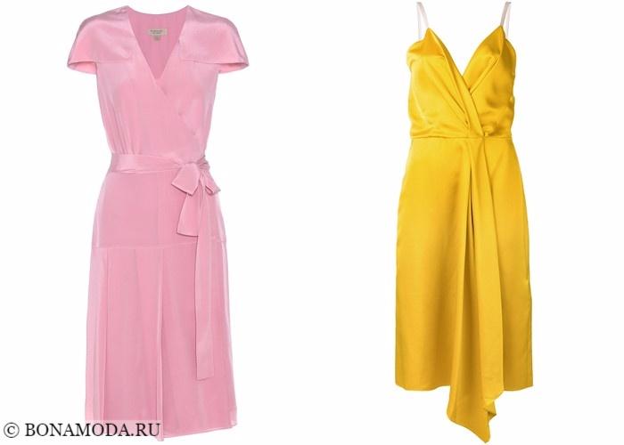 Платья-халат с запахом 2017-2018: розовое и желтое коктейльное