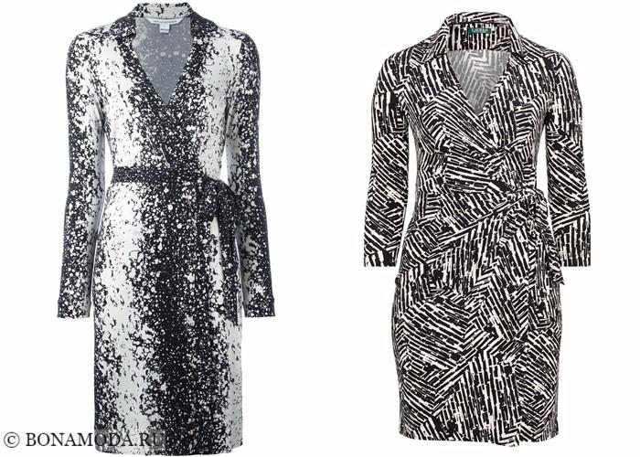 Платья-халат с запахом 2017-2018: длинный рукав и принт обманка