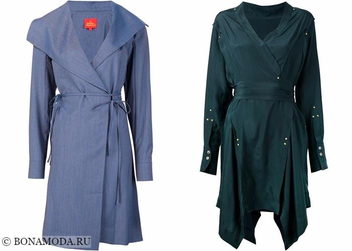 Платья-халат с запахом 2017-2018: синее и изумрудно-зеленое длинным рукавом