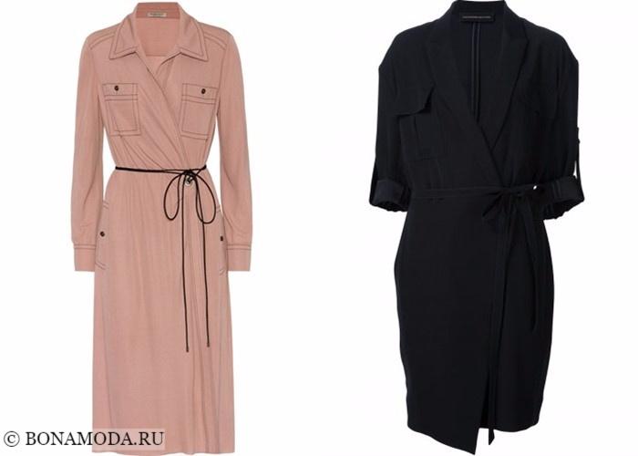 Платья-халат с запахом 2017-2018: бежевое и черное рубашка