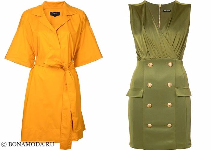 Платья-халат с запахом 2017-2018: желтое и зеленое хаки