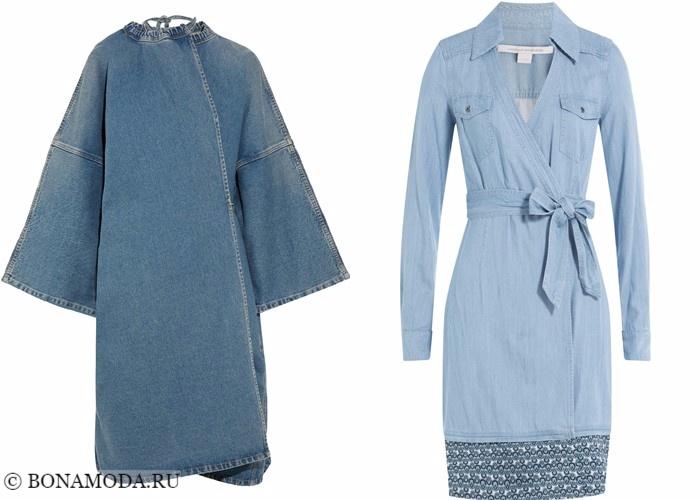 Платья-халат с запахом 2017-2018: голубой деним