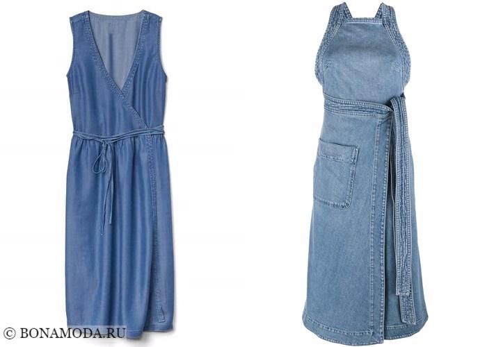 Платья-халат с запахом 2017-2018: джинсовые с короткими рукавами