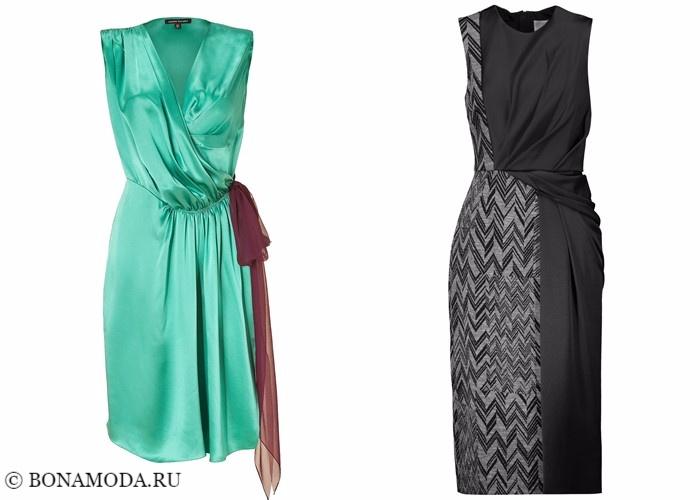 Платья-халат с запахом 2017-2018: шелковые с короткими рукавами