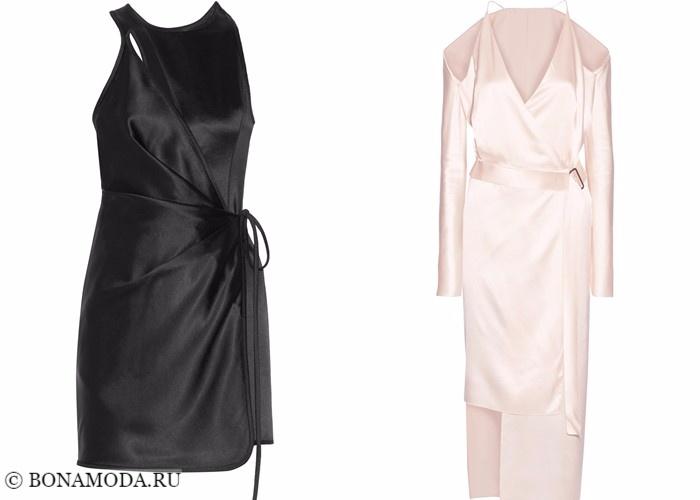 Платья-халат с запахом 2017-2018: короткое черное и нюд длинное