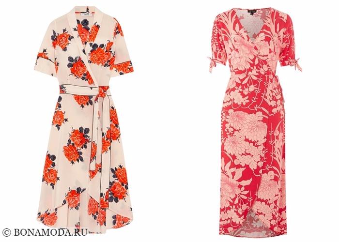 Платья-халат с запахом 2017-2018: ретро-стиль с цветочным принтом