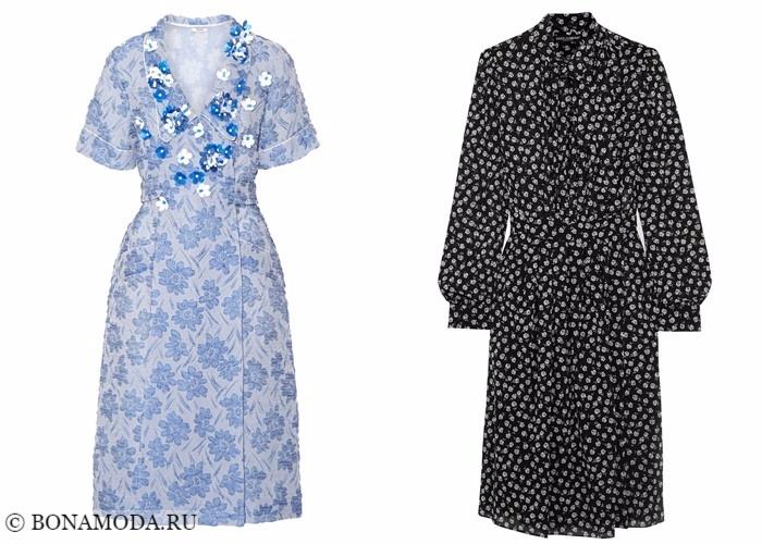 Платья-халат с запахом 2017-2018: винтажный стиль с цветочным рисунком