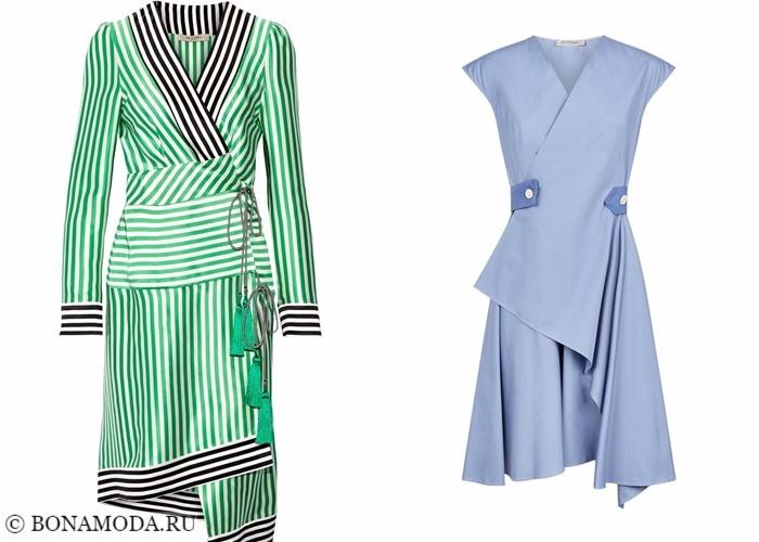 Платья-халат с запахом 2017-2018: асимметричные