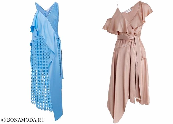 Платья-халат с запахом 2017-2018: асимметрия с воланами