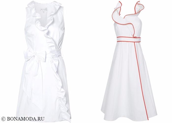 Платья-халат с запахом 2017-2018: белые с оборками