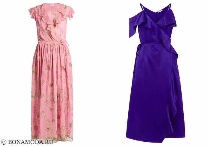 Платья-халат с запахом 2017-2018: розовое и фиолетовое с воланами