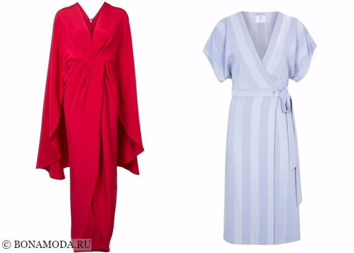 Платья-халат с запахом 2017-2018: красное и серо-голубое кимоно