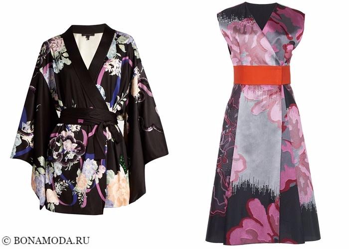 Платья-халат с запахом 2017-2018: цветное шелковое кимоно