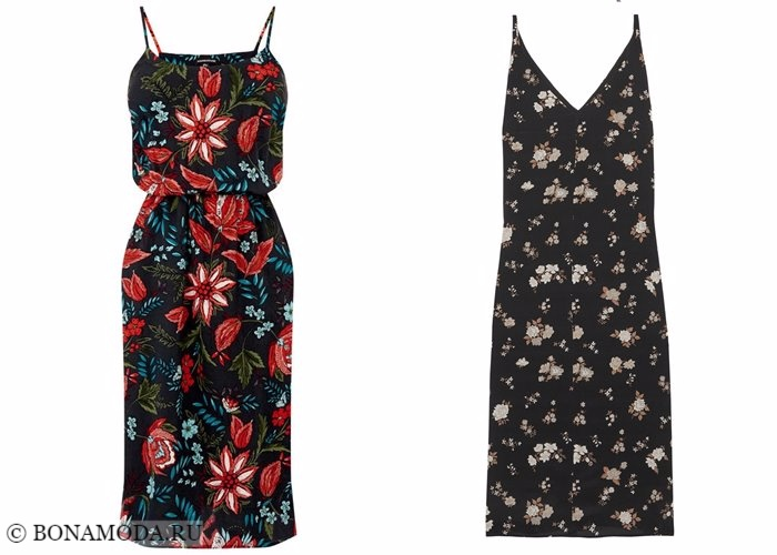 Платья с цветочным принтом 2017-2018: черные летние сарафаны