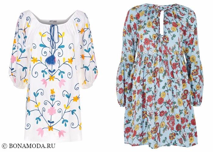 Платья с цветочным принтом 2017-2018: летние туники