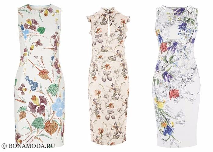 Платья с цветочным принтом 2017-2018: светлые карандаш футляр