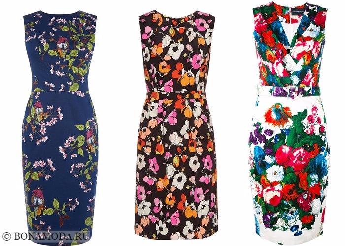 Платья с цветочным принтом 2017-2018: яркие облегающие футляр