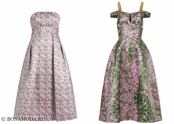Платья с цветочным принтом 2017-2018: вечерние блестящие из органзы