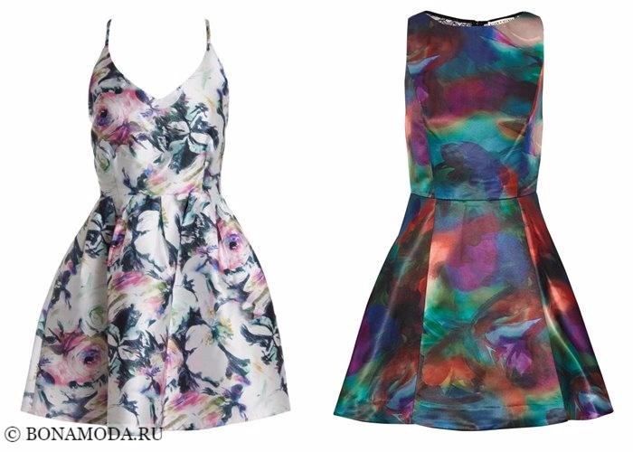 Платья с цветочным принтом 2017-2018: короткие коктейльные атласные