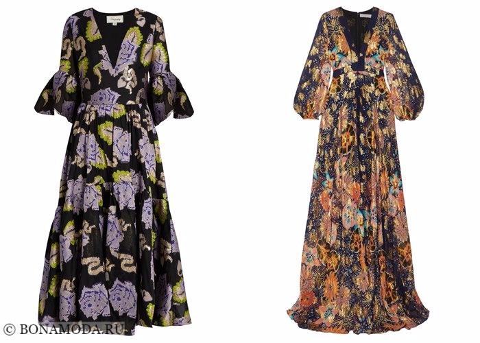 Платья с цветочным принтом 2017-2018: длинные вечерние