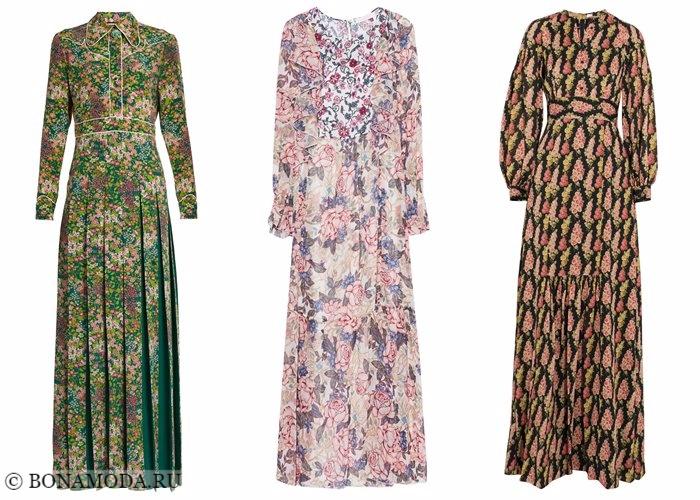 Платья с цветочным принтом 2017-2018: закрытые с длинным рукавом