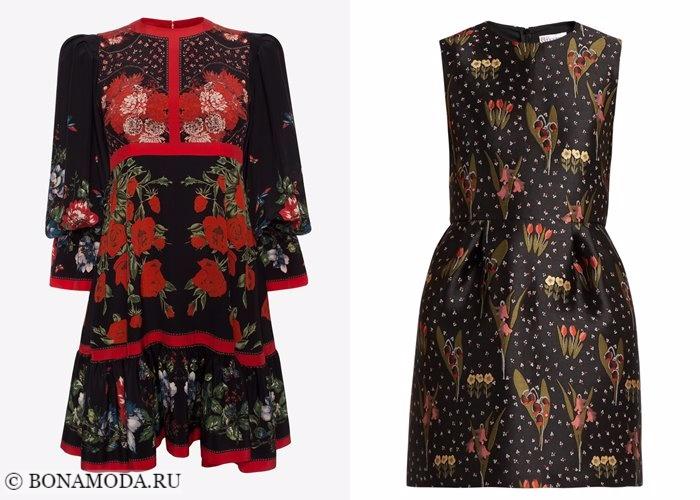 Платья с цветочным принтом 2017-2018: короткие черные мини
