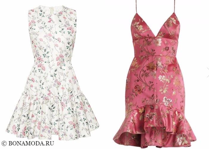 Платья с цветочным принтом 2017-2018: светлые белые и розовые коктейльные