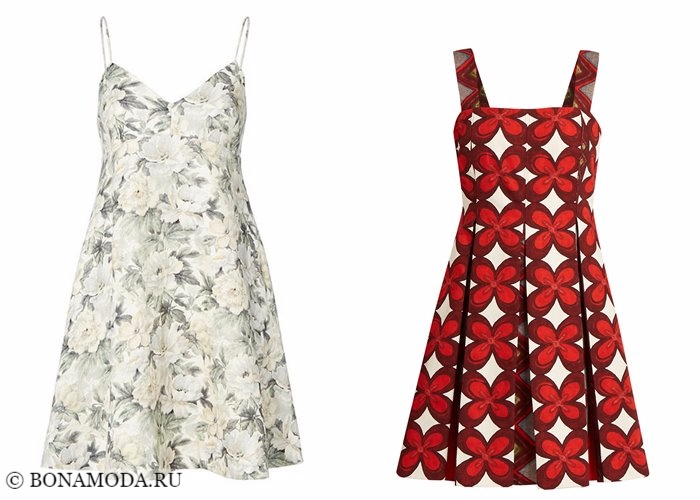 Платья с цветочным принтом 2017-2018: короткие приталенные сарафаны