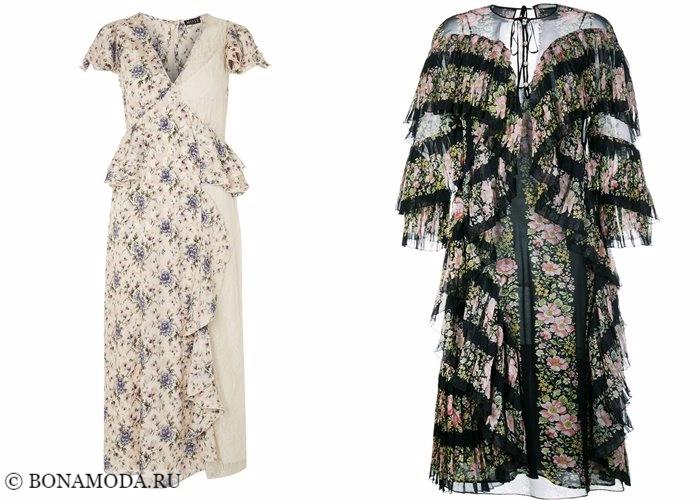 Платья с цветочным принтом 2017-2018: с рюшами и оборками