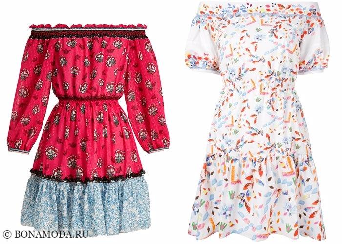 Платья с цветочным принтом 2017-2018: открытые плечи и пышные рукава