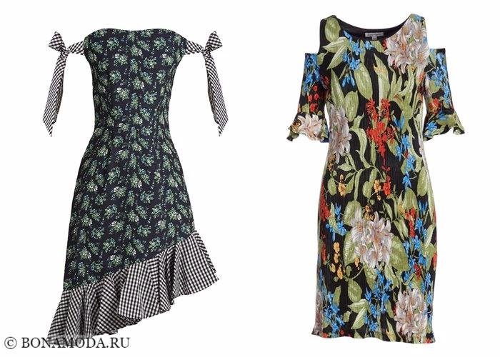 Платья с цветочным принтом 2017-2018: открытые плечи с вырезами