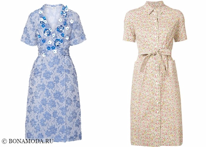 Платья с цветочным принтом 2017-2018: ретро стиль 40-х