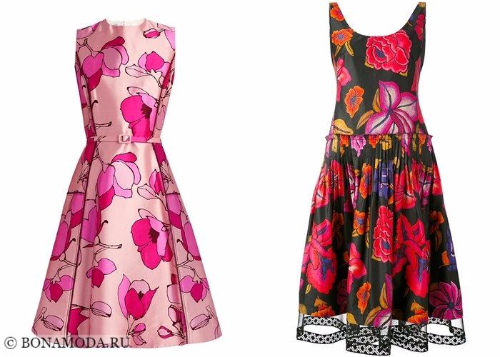 Платья с цветочным принтом 2017-2018: приталенные модели с пышными юбками