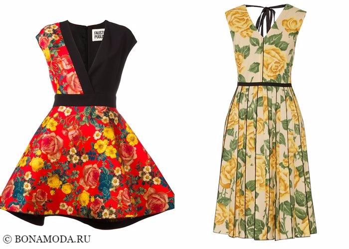 Платья с цветочным принтом 2017-2018: приталенные с розами