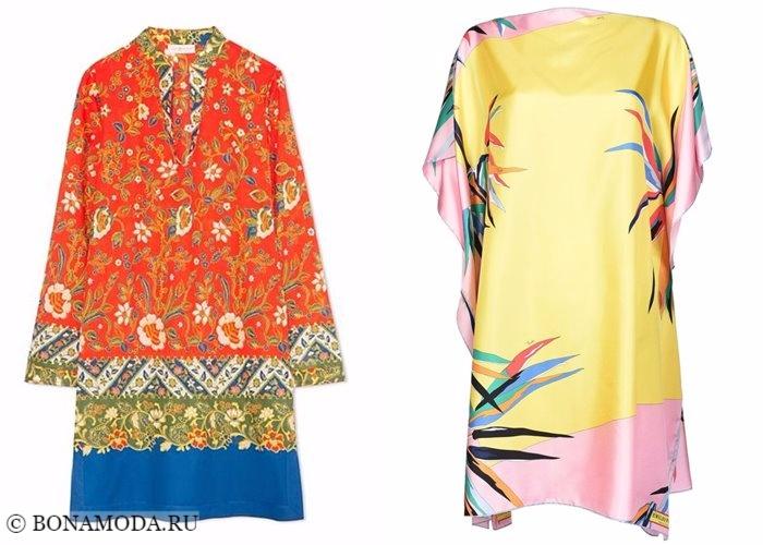 Платья с цветочным принтом 2017-2018: яркие туники
