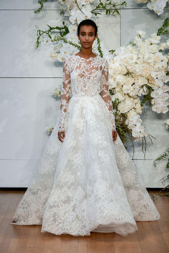 Пышные свадебные платья 2017-2018: узорчатое винтажное кружево и длинные рукава