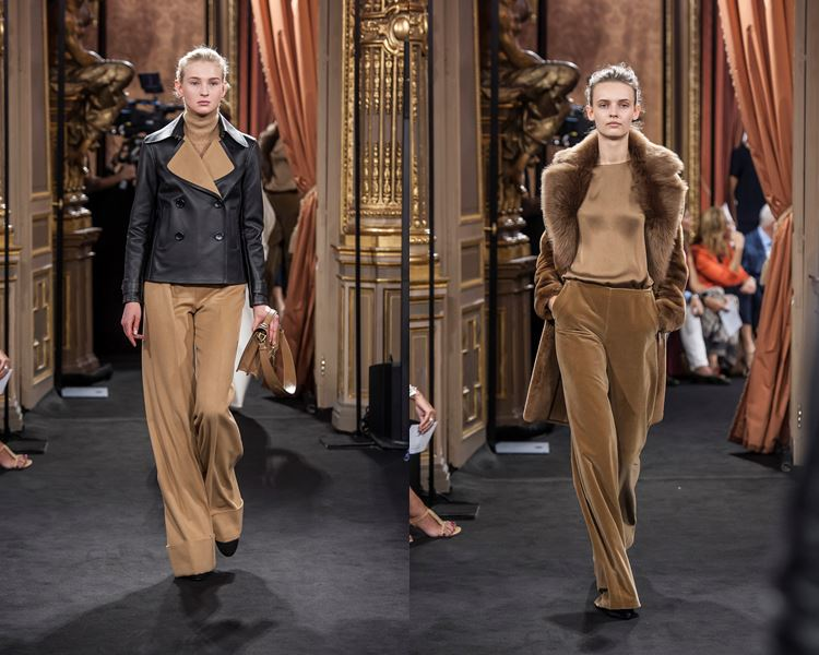 Коллекция Massimo Dutti осень-зима 2017-2018: бежевые брюки, черная кожаная куртка, меховое пальто