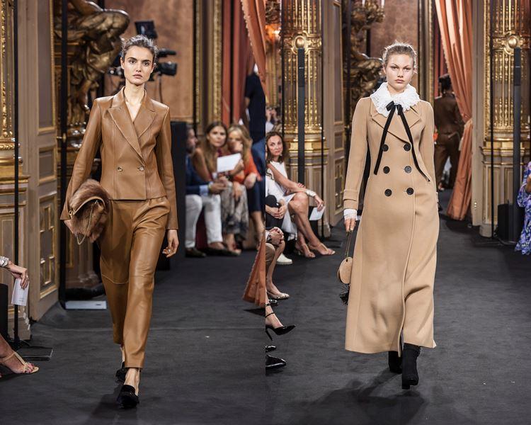 Коллекция Massimo Dutti осень-зима 2017-2018: бежевый кожаный брючный костюм и двубортное пальто