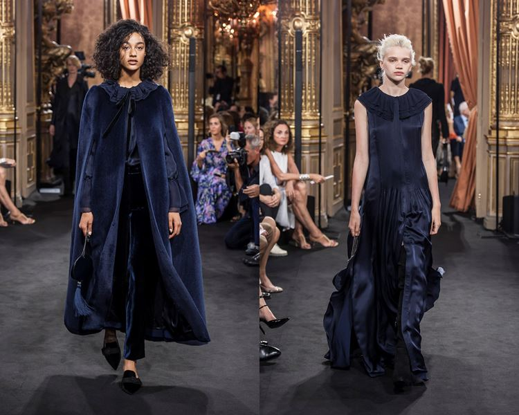 Коллекция Massimo Dutti осень-зима 2017-2018: темно-синее пальто-кейп и длинное вечернее платье