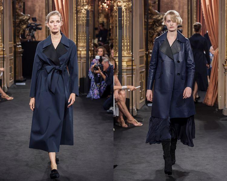 Коллекция Massimo Dutti осень-зима 2017-2018: темно-синее пальто с запахом и кожаный плащ