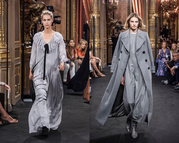 Коллекция Massimo Dutti осень-зима 2017-2018: серое длинное платье и пальто