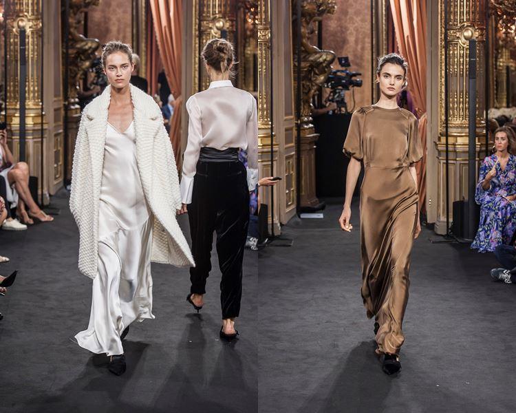 Коллекция Massimo Dutti осень-зима 2017-2018 белое и бежевое шелковые вечерние платья